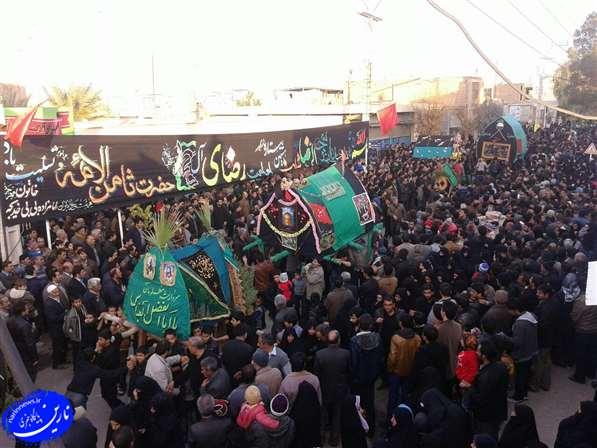 تصویر از مراسم تعزیه خوانی و نخل برداری در محله مهرجرد شهرستان میبد