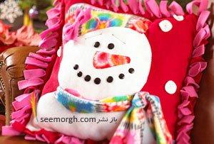 تصویر از یک کوسن زمستانی زیبا با طرح آدم برفی بدوزید!