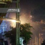 آتش سوزی درختان خیابان در پی مراسم عروس کشانی