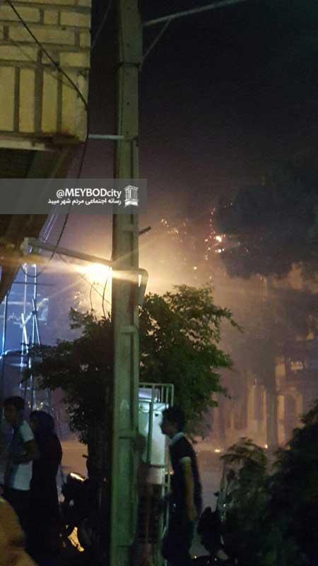 تصویر از آتش سوزی درختان خیابان در پی مراسم عروس کشانی