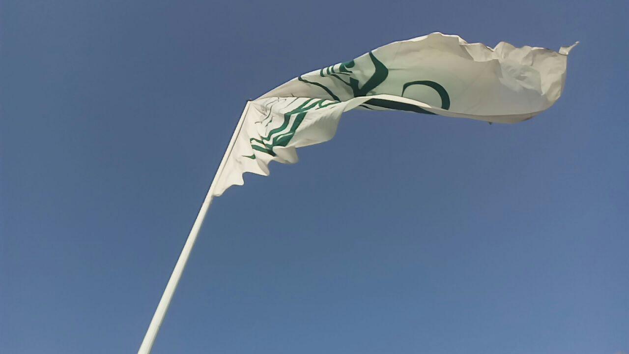 تصویر از پرچم علی به ابیطالب در محله فیروزآباد شهرستان میبد برافراشته گردید