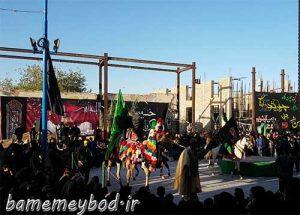 تصاویری از برگزاری مراسم نخل برداری و تعزیه در امامزاده سید صدر الدین قنبر شهرستان میبد
