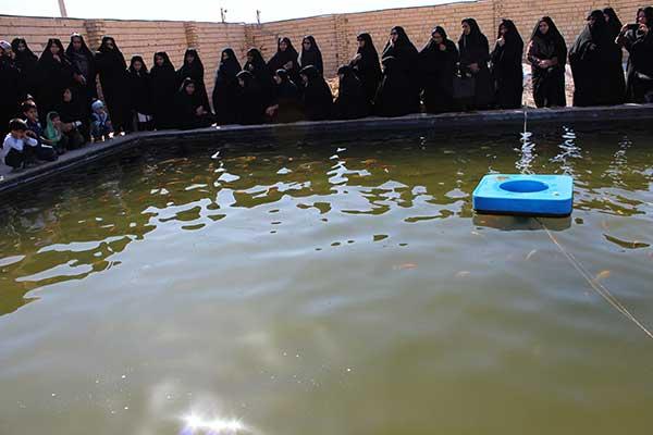 تصویر از بازدید بانوان میبدی از استخر پرورش ماهیان گرمابی و زینتی در شهیدیه میبد