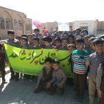 کاشت نهال به یاد شهدا توسط دانش آموزان دبستان پسرانه شاهد حاج حسین دهقانی