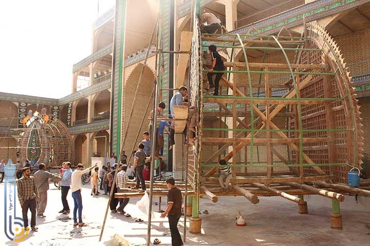 تصویر از آئین نخل بستن و عزاداری در حسینیه دارالشفاء یخدان میبد