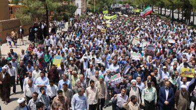 تصویر از مردم میبد حضوری گسترده در راهپیمایی روز قدس داشتند