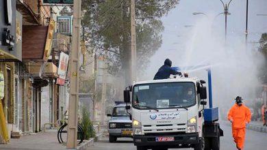 تصویر از معابر و خیابانهای میبد ضدعفونی شد