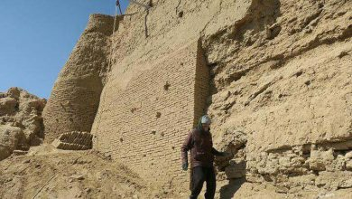تصویر از عملیات حفاظت و مرمت جبهه شرقی نارین قلعه میبد پیگیری شد
